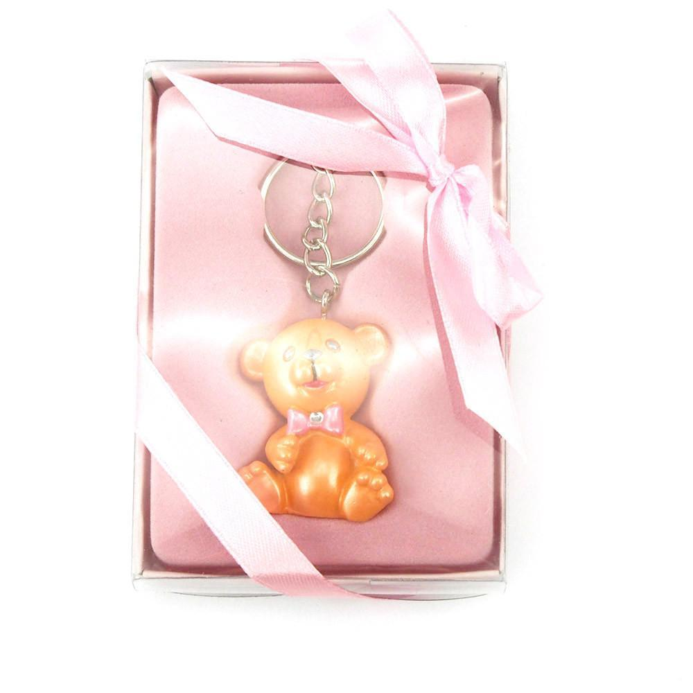 Keychain Favors, 4-Inch, Teddy Bear, Light Pink