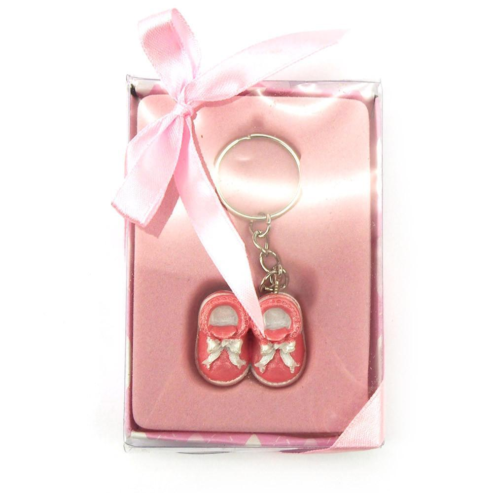 Keychain Favors, 4-Inch, Baby Shoes, Light Pink