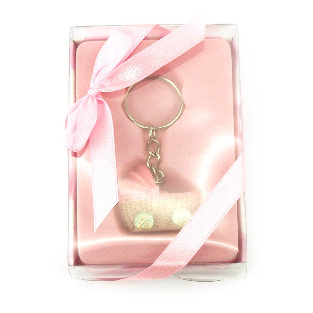 Keychain Favors, 4-inch, Baby Stroller, Light Pink