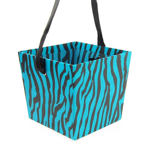 Cardboard Paper Market Tray, Zebra Striped Turquoise, 5-Inch