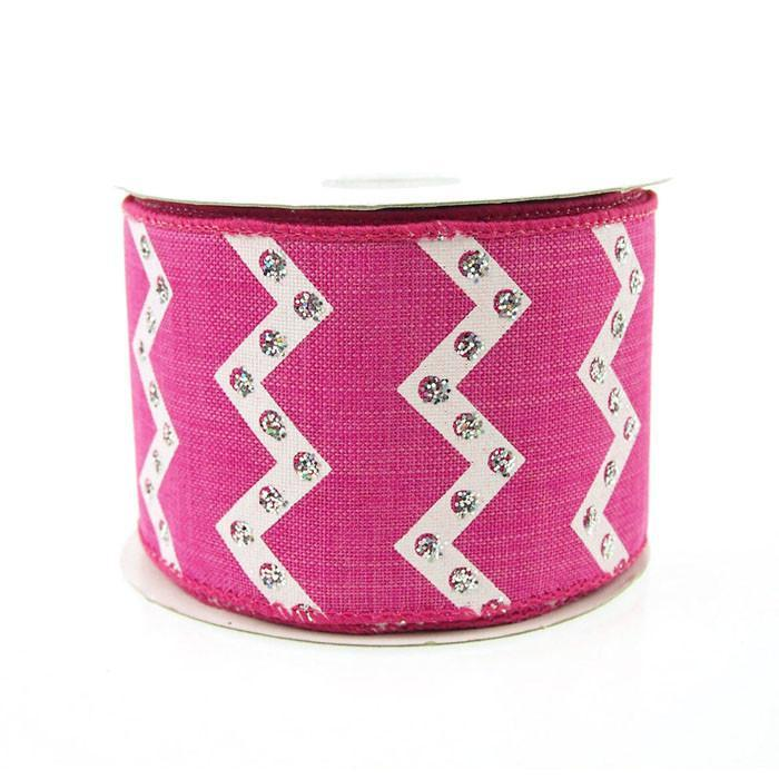 Chevron Glitters Canvas Ribbon, 2-1/2-inch, 10-yard, Hot Pink