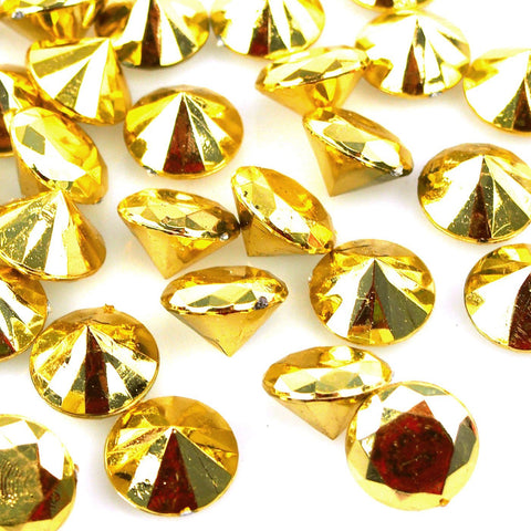 Acrylic Crystal Diamond Table Confetti, 3/4-Inch, 10-Ounce, 150-Count, Metallic Gold