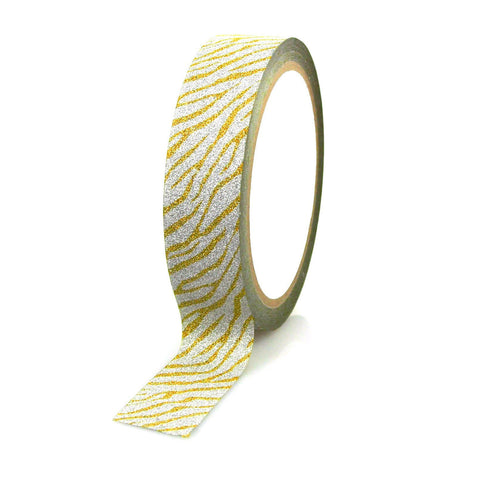 Glittery Zebra Print Tape Ribbon, 1-inch, 20-yard, Gold