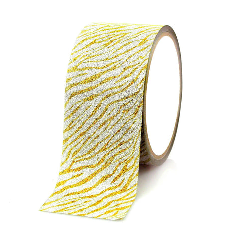 Glittery Zebra Print Tape Ribbon, 2-inch, 5-yard, Gold