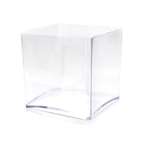 Clear Acrylic Cube Vase Display, 5-Inch x 5-Inch