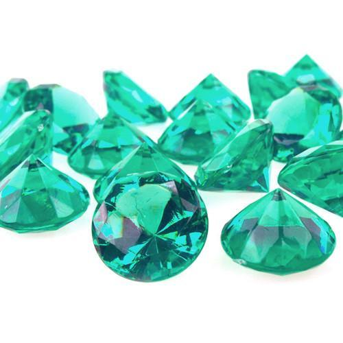Acrylic Diamond Crystal Table Scatter, 1-3/8-inch, 60-Piece, Light Green