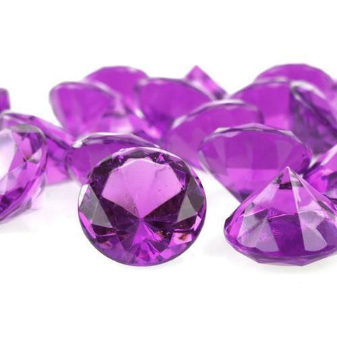 Acrylic Diamond Crystal Table Scatter, 1-3/8-inch, 60-Piece, Purple