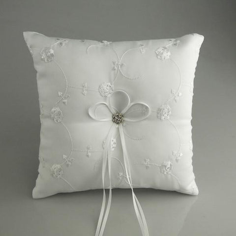 Ring Bearer Satin Pillows Wedding Occassion, 7-inch, Embroidered Flower Vines, White, CLOSEOUT