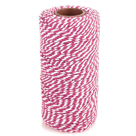 Cotton Bakers Twine Ribbon, 10 Ply, 100 Yards, Fuchsia