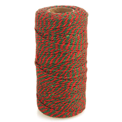Cotton Bakers Twine Ribbon, 10 Ply, 100 Yards, Red/Green
