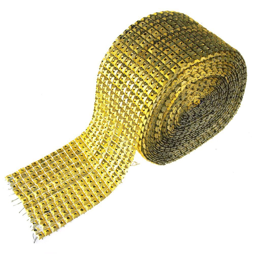 Square Studs Diamond Mesh Wrap Ribbon, 4-3/4-Inch, 10 Yards, Gold