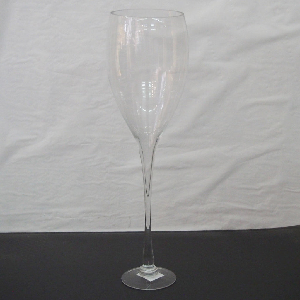Clear glass tall champagne vase wedding centerpiece
