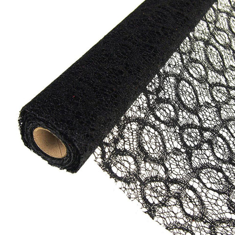 Faux Lace Ribbon with Glitters, 19-Inch, 5 Yards, Black