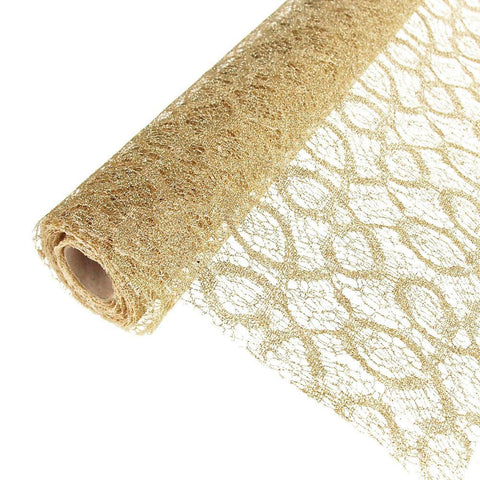 Faux Lace Ribbon with Glitters, 19-Inch, 5 Yards, Champagne