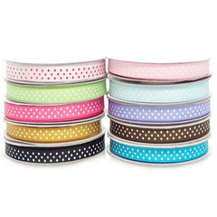 Swiss Dots Grosgrain Ribbon, 3/8-inch, 25-yard