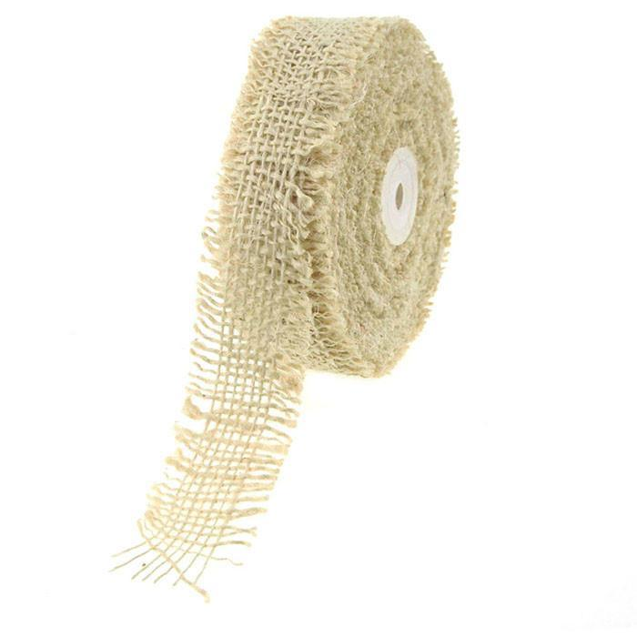 Burlap Ribbon Fringed Edge, 1-1/2-Inch, 10 Yards, Off White