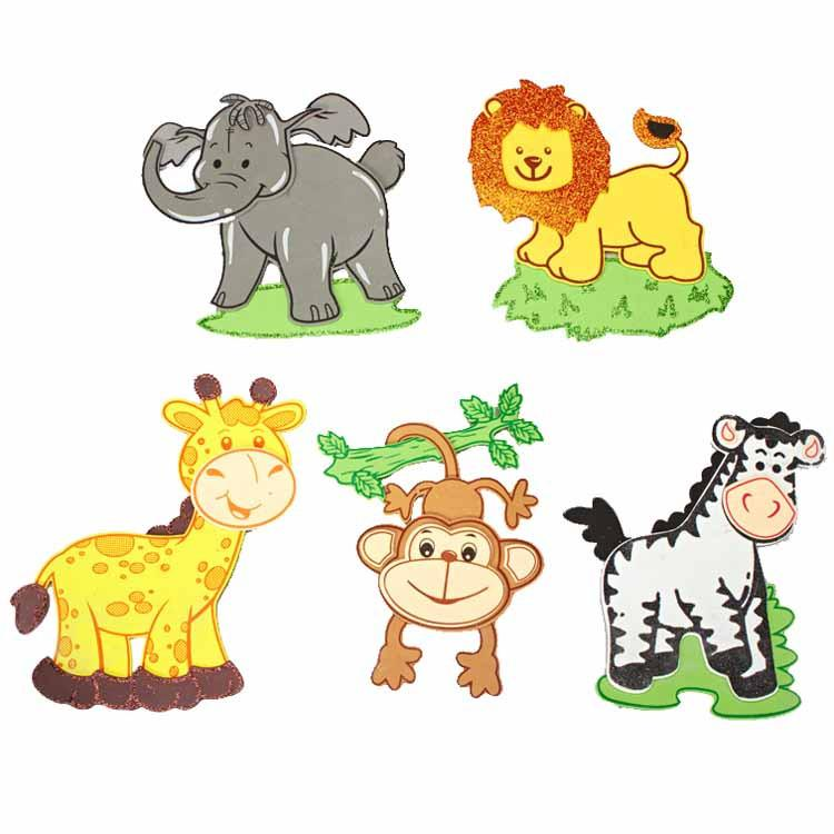 Safari Animals Foam Foam Decor, 5-pairs, Large