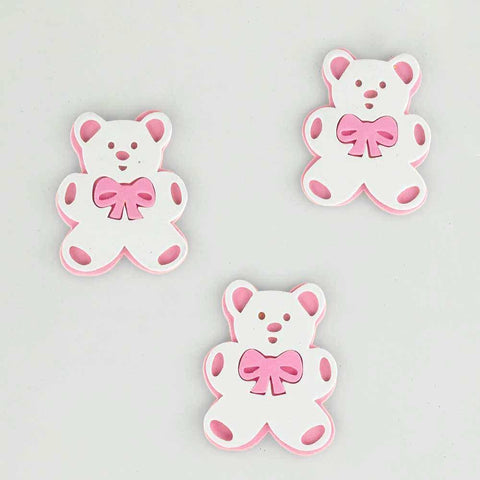 Baby Shower Foam Decor, 3-inch, 3-Piece, Teddy Bear, Light Pink