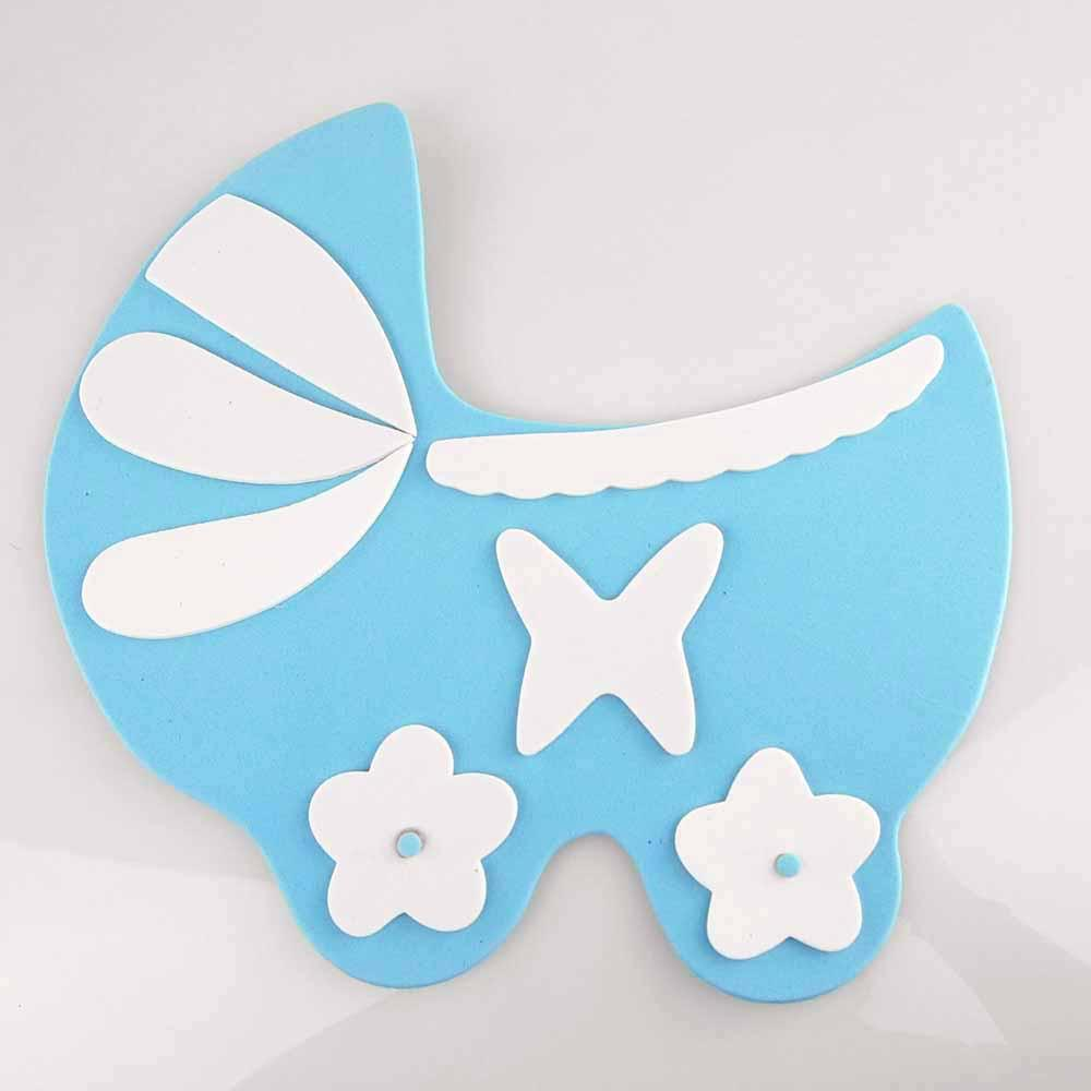 Baby Carriage Foam Decor, 9-Inch, Light Blue