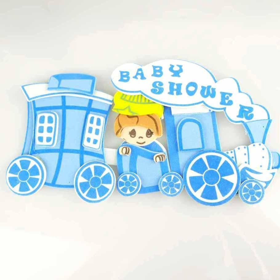 Choo Choo Train Foam Decor, 4-Inch, Light Blue