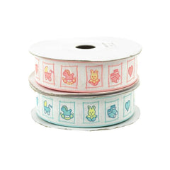Baby Toys Print Polyester Ribbon, 7/8-inch, 25-yard