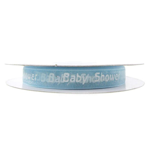 Baby Shower Print Organza Ribbon, 3/8-Inch, 25 Yards, Light Blue
