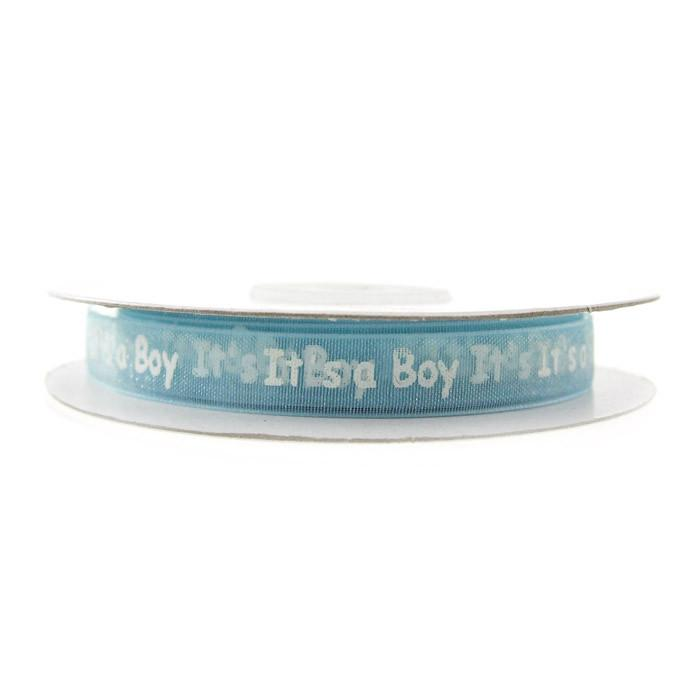 Its A Boy Organza Ribbon, 3/8-inch, 25-yard, Blue