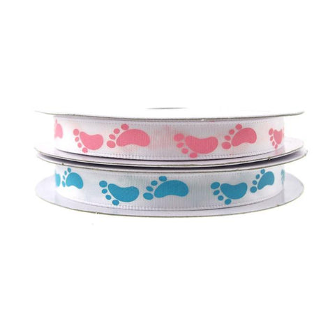 Baby Foot Print Satin Ribbon, 3/8-Inch, 10-yard