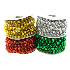 Plastic Mot Pearls Garland Ribbon, 10mm, 6 Yards