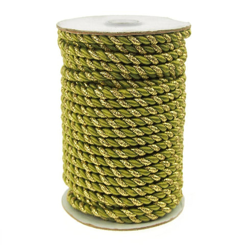 Gold Trim Twisted Cord Rope 2 Ply, 6mm, 25 Yards, Moss Green