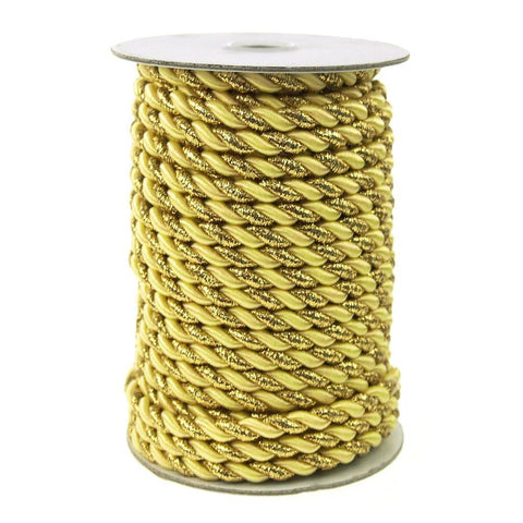 Gold Trim Twisted Cord Rope 2 Ply, 6mm, 25 Yards, Yellow