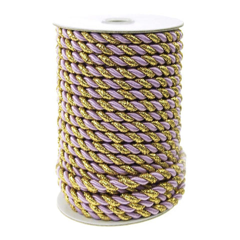 Gold Trim Twisted Cord Rope 2 Ply, 6mm, 25 Yards, Lavender