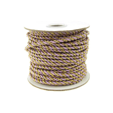 Gold Trim Twisted Cord Rope 2 Ply, 3mm, 25 Yards, Lavender