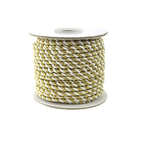 Gold Trim Twisted Cord Rope 2 Ply, 3mm, 25 Yards, White