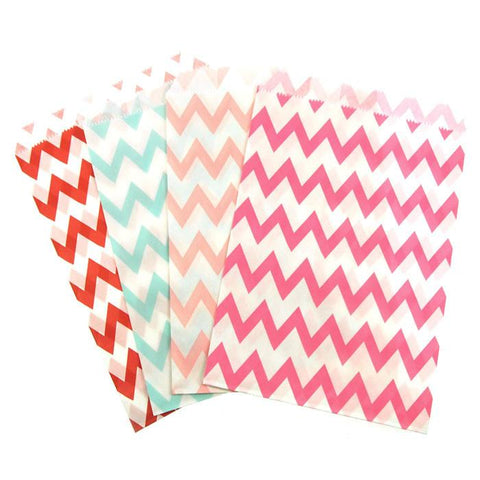 Chevron Paper Treat Bags, 7-Inch, 25-Piece