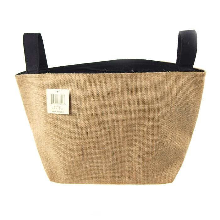 Burlap Storage Basket Bag with Black Lining, 9-Inch