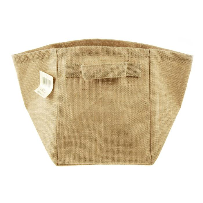 Burlap Storage Basket Bag w/ Side Holder, 9-Inch