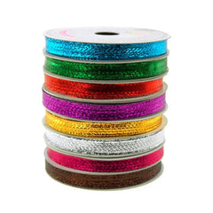 Solid Metallic Holiday Christmas Wired Ribbon, 3/8-Inch, 10 Yards