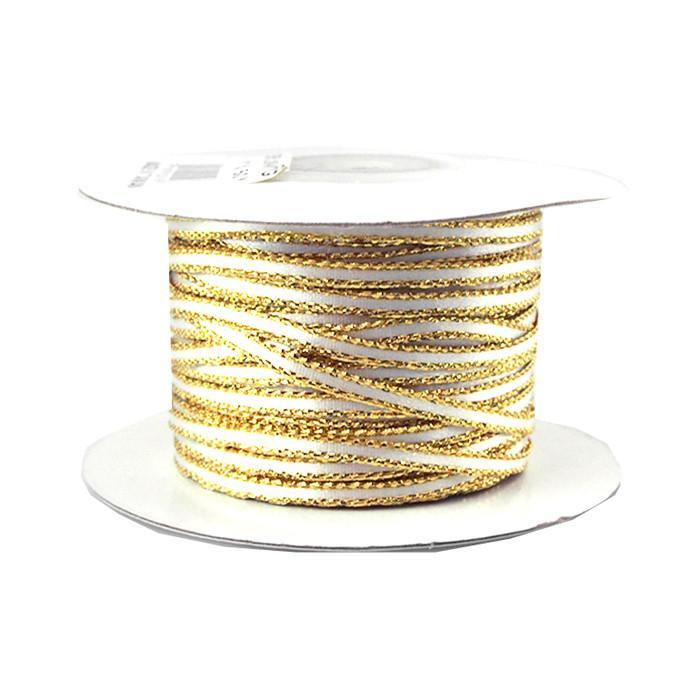 Satin Ribbon with Metallic Trim Edge, 1/8-Inch, 50- Yards, White w/ Gold Edge