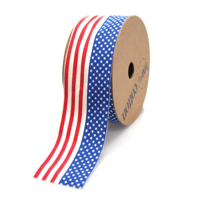 USA American Flag Print Cotton Ribbon, 1-1/2-inch, 10-yard