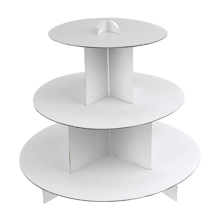 Cupcake Cardboard Stand, 3-Tier, 12-Inch, White