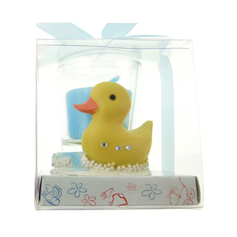 Votive Candle Favors, 2-Inch, Rubber Ducky, Light Blue