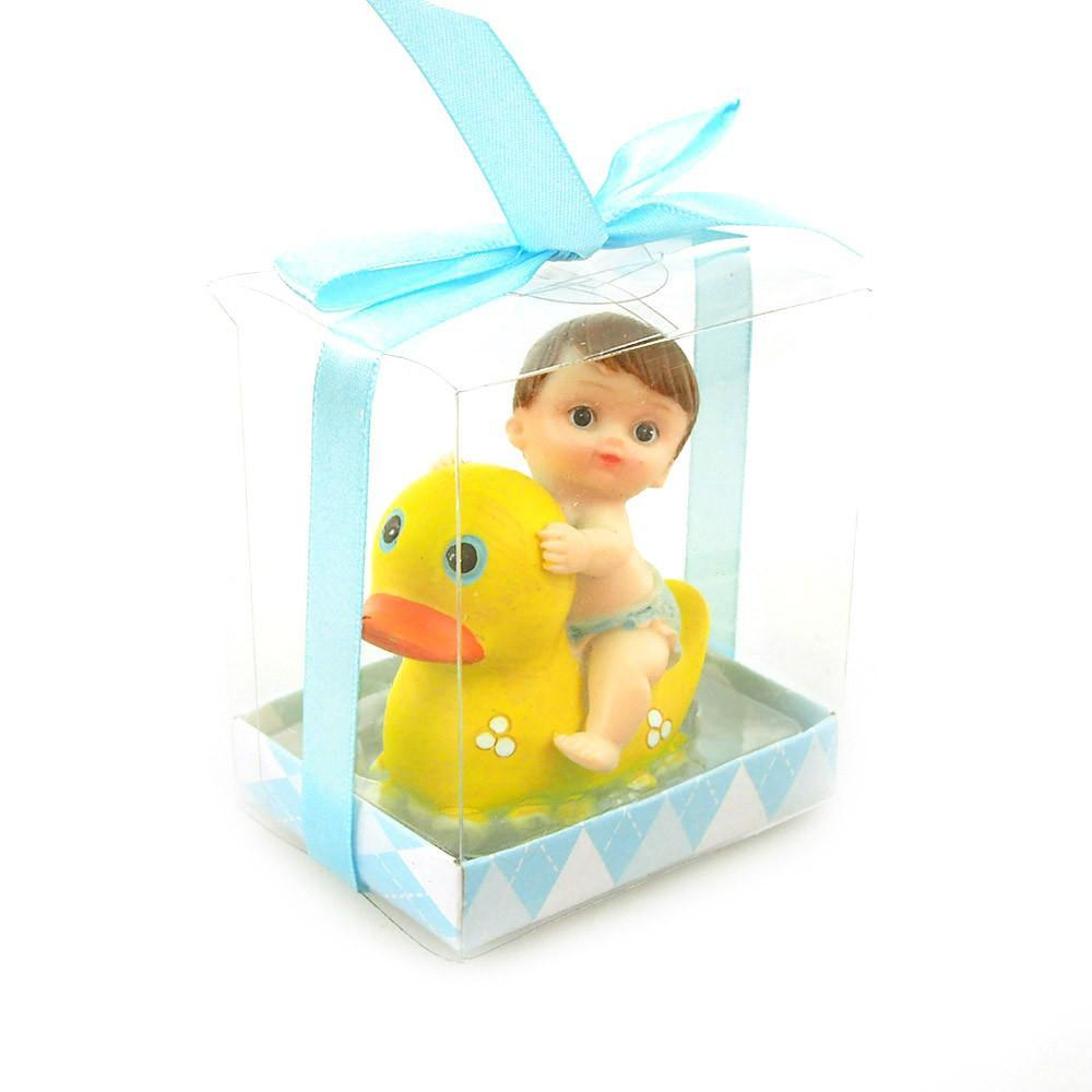Baby Favors Souvenir, 3-3/4-Inch, Baby and Duck, Light Blue