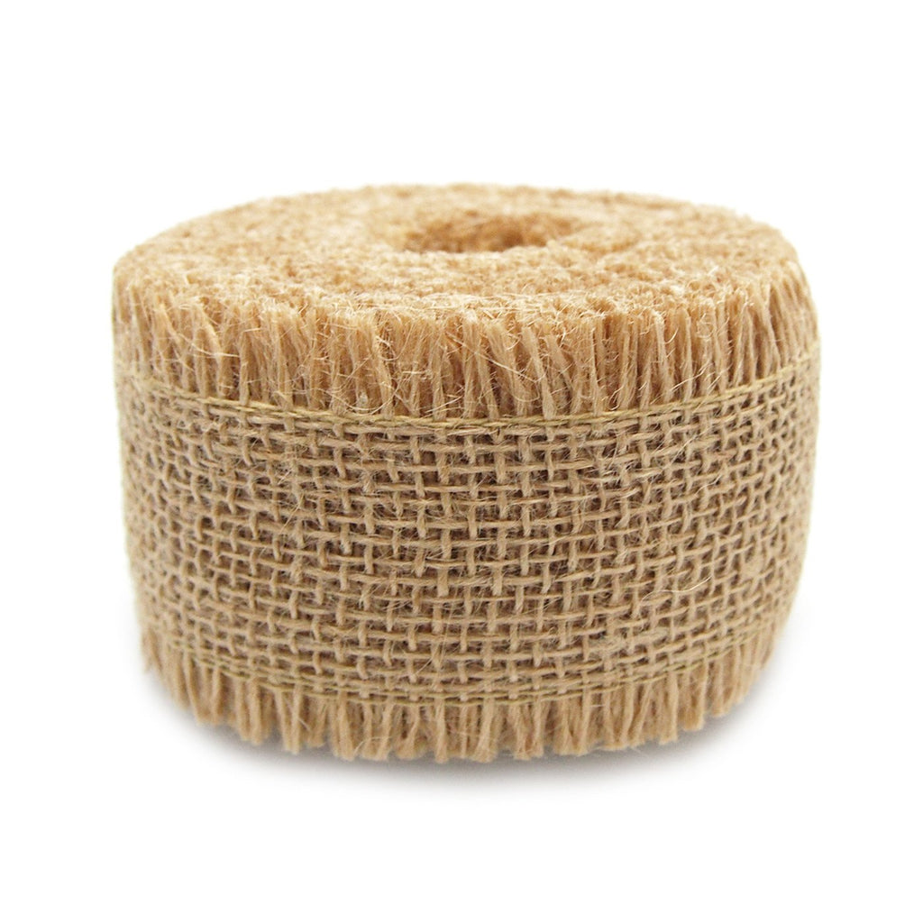 Burlap Ribbon Fringed Edge, 2-1/2-Inch, 10 Yards, Natural