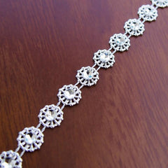Daisy Flower Rhinestone Trim Strand, 9mm, 10 Yards