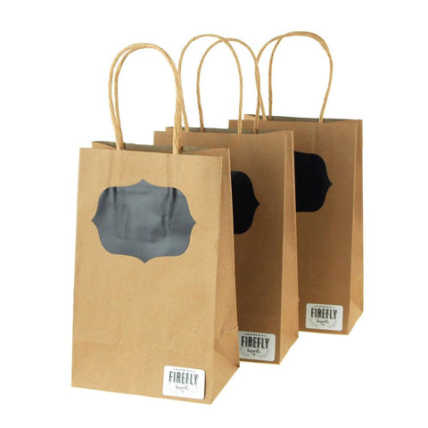Chalkboard Bracket Paper Kraft Treat Bags, Natural, 8-1/2-Inch, 3-Pieces