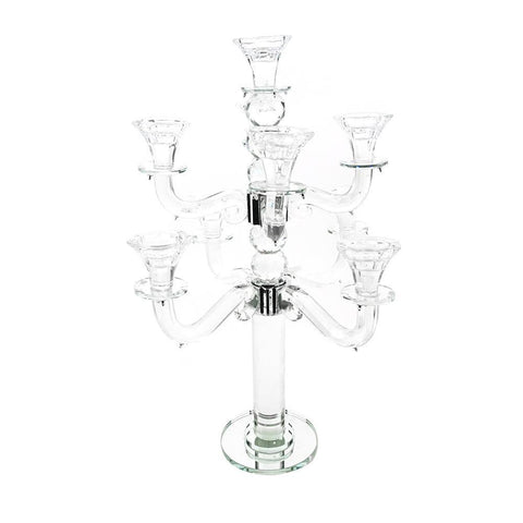 Candelabras Candle Holder Glass Centerpiece, 8 Arms, Clear