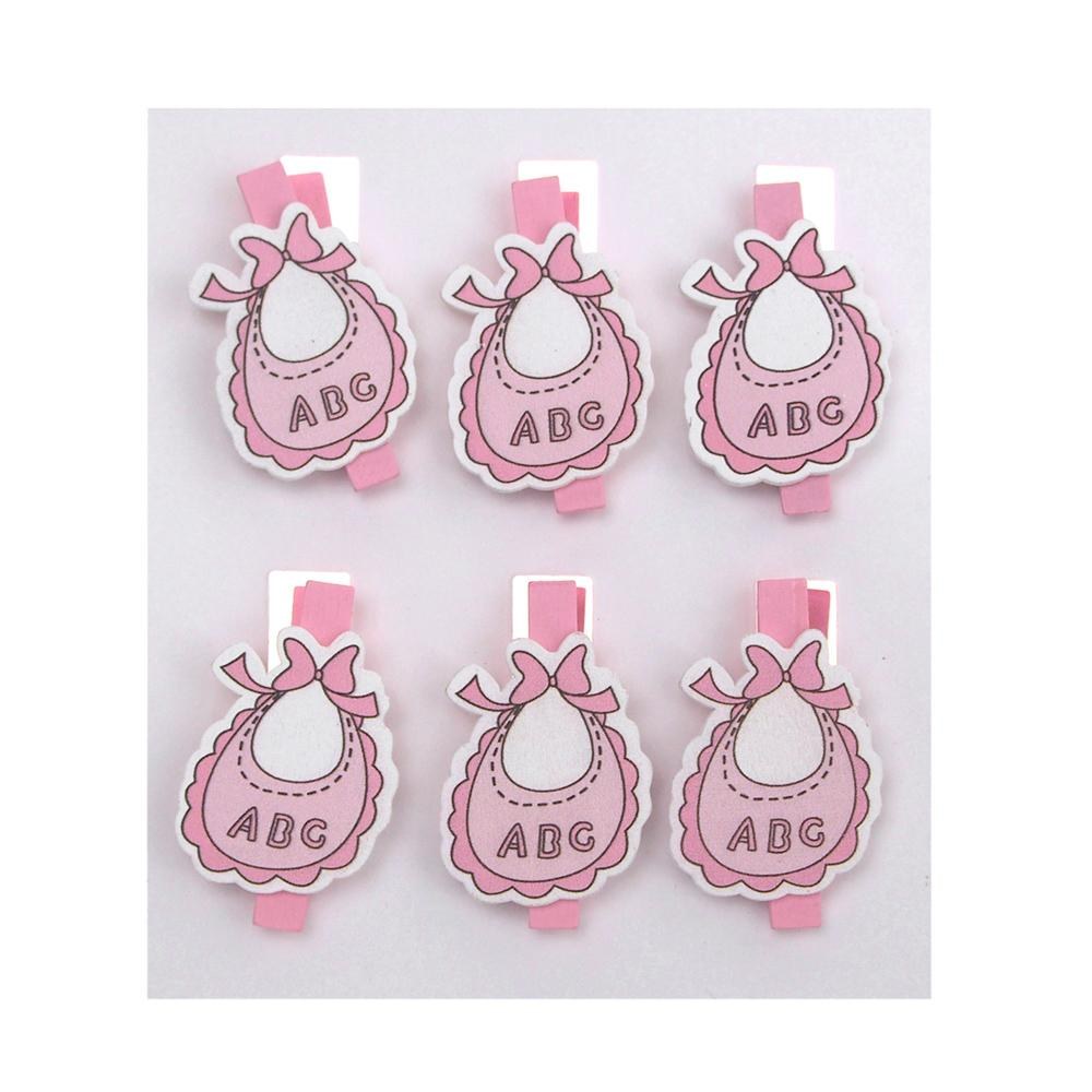 ABC Bibs Wooden Clothespins Baby Favors, 2-Inch, 6-Piece, Pink