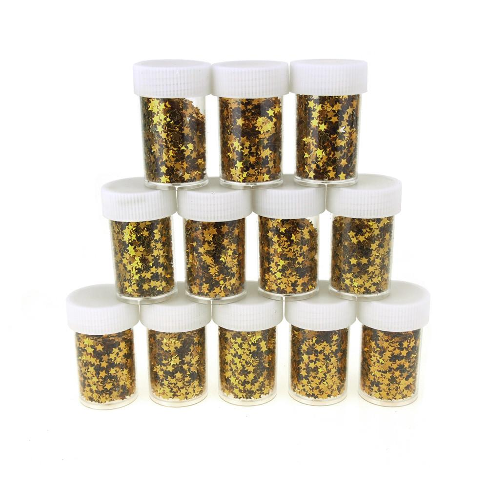 Star Sequins in Plastic Bottle, 0.4 Ounce, 12-Piece