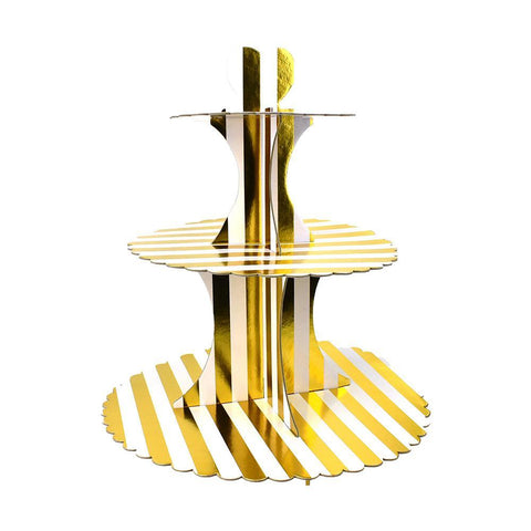 3-Tier Cardboard Cupcake Stand, Gold/White, 13-1/2-Inch